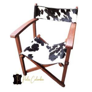 silla-director-con-piel-de-vaca-blanco-negro
