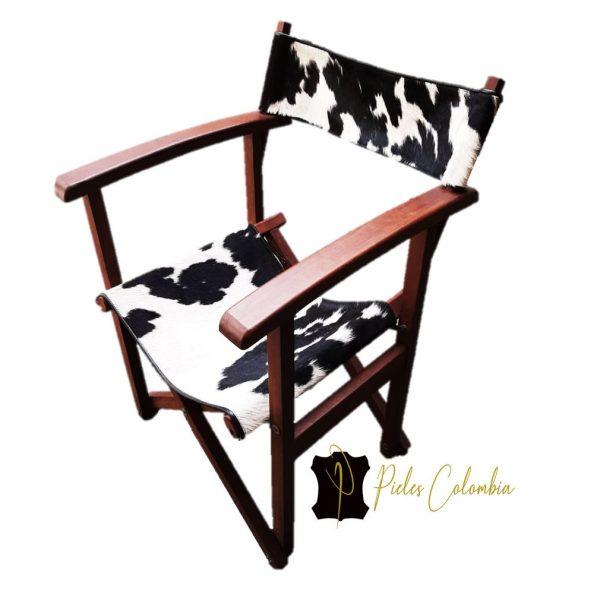 silla-director-con-piel-de-vaca-blanco-negro-2